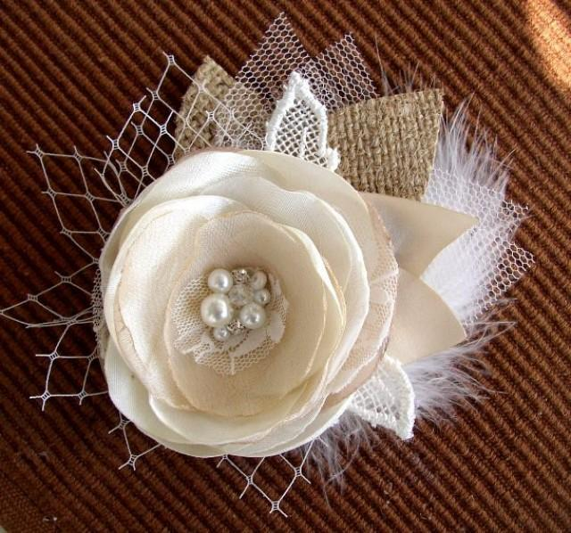 Rustic Hair Flower Clip Ivory Champagne Burlap Hairpiece