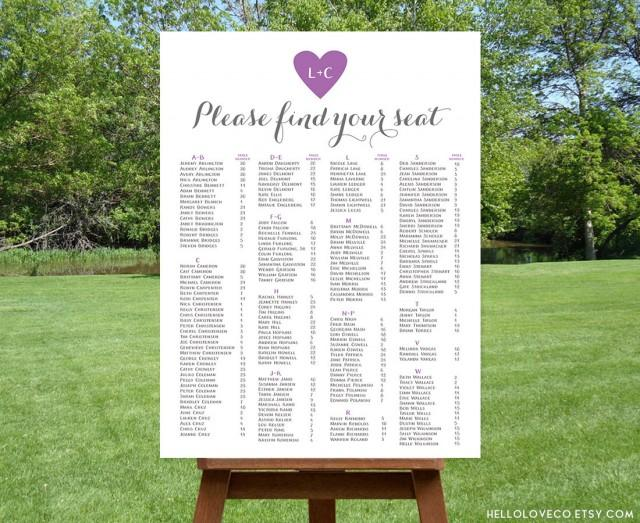 PRINTABLE Alphabetical Wedding Seating Chart #2500899