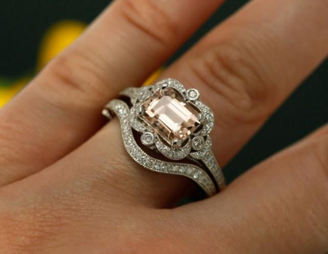 8x6mm Emerald Cut Morganite And Diamond Halo Engagement