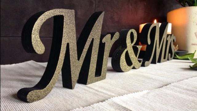 Wooden, Black With GOLD Dust Sign Mr And Mrs , Wedding