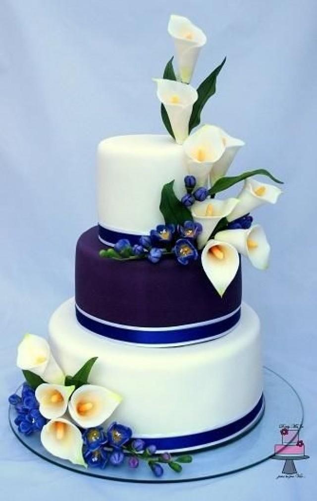 Cake Wedding Cake Calla Lily And Freesia 2513558 Weddbook