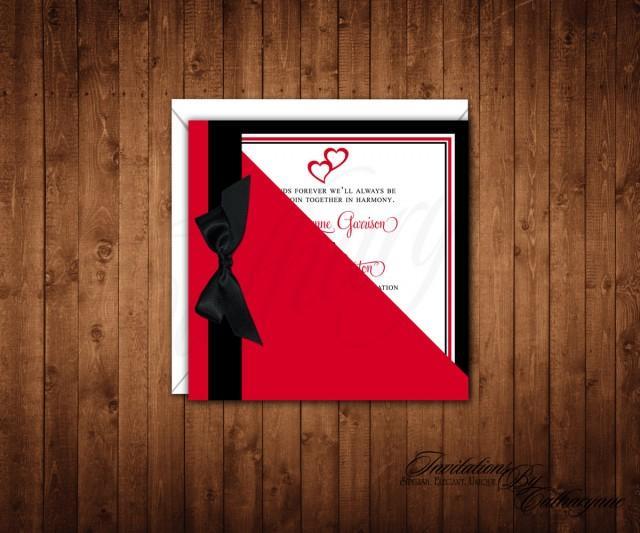 Red Hearts Valentine Wedding Invitations