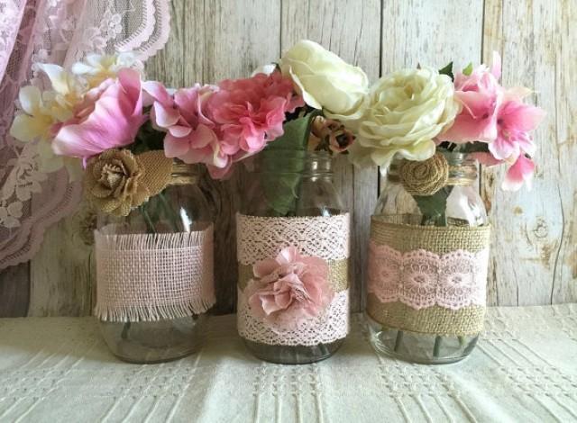 3 Pink Burlap And Lace Covered Mason Jar Vases Wedding