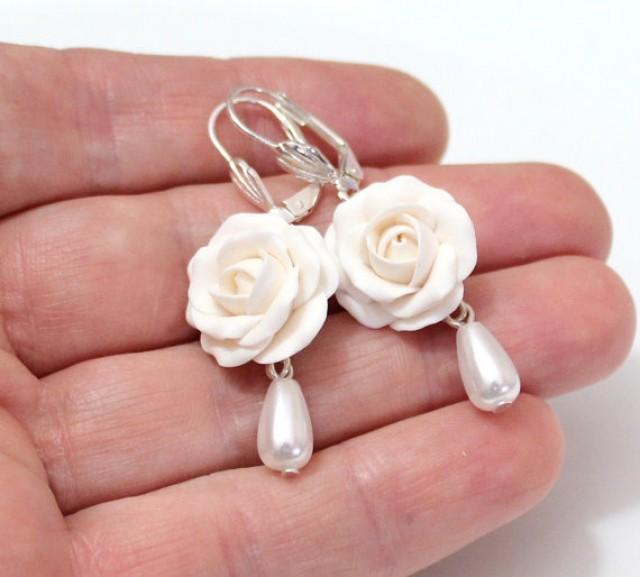 White Rose Drop Earrings White Flower Drop Earrings And