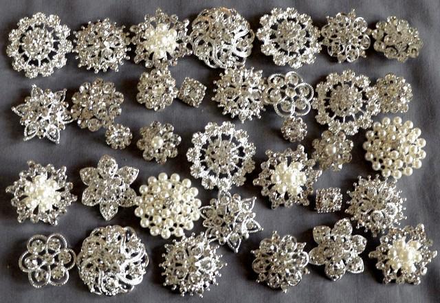 50 Assorted Rhinestone Button Brooch Embellishment Pearl
