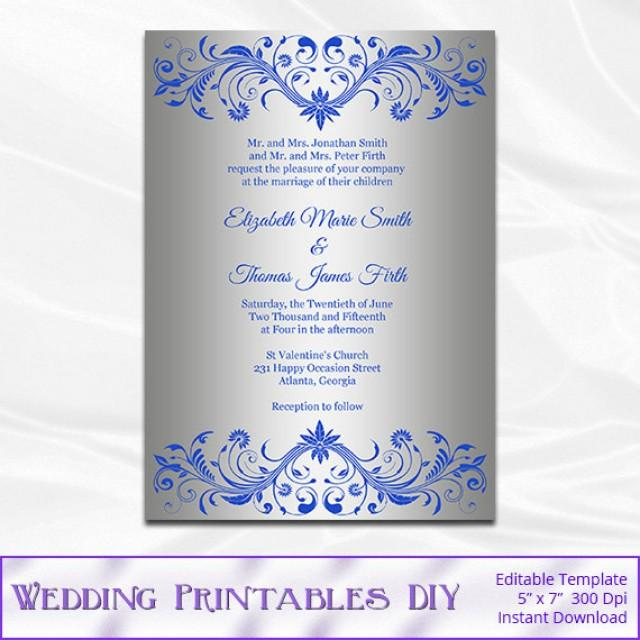 Royal Blue And Silver Wedding Invitation Template Diy Silver Foil Shower Invites Printable