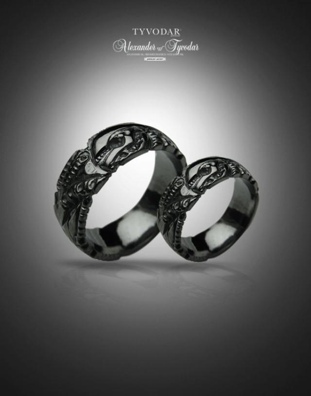 BLACK GIGER Biomechanical Wedding Bands Gothic Silver