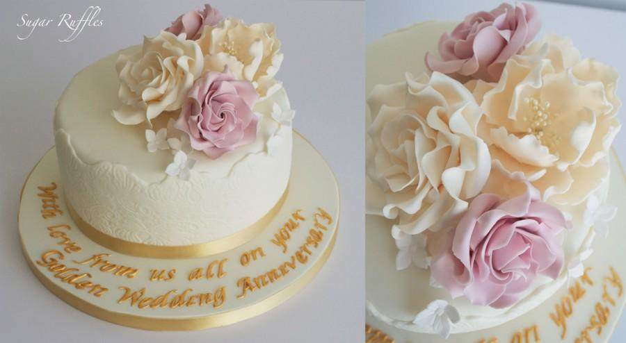 Wedding Cakes   Golden Wedding Anniversary Cake  2014175   Weddbook Golden Wedding Anniversary Cake