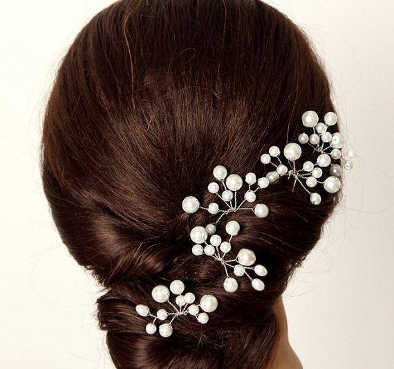 four pieces bridal pearl hair pin wedding hair accessories bridal headpiece bridal hair pin with glass crystals bridal headpieces