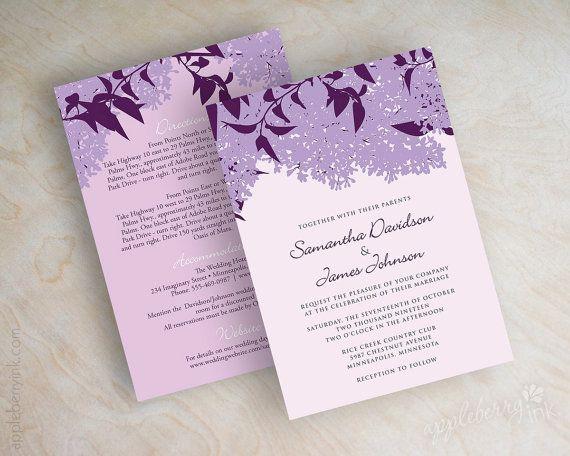 Lilac Wedding Invitations Stationery Purple