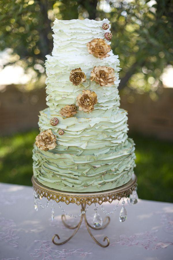 Green Ombre Wedding Cake with Copper Flowers  2178493   Weddbook Green Ombre Wedding Cake with Copper Flowers