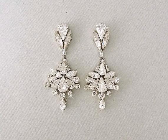Wedding Earrings Chandelier Bridal Vintage Crystal Swarovski Crystals Jewelry Scarlette