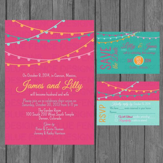 Simple Wedding Invitation Suite Modern Colorful