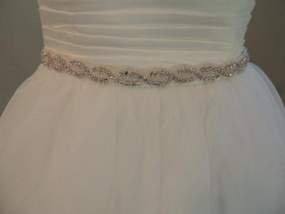 Crystal Sash, Wedding Dress Belt. Rhinestones, Beaded