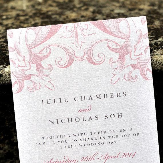 Vintage Wedding Invitation 39 Victorian Calligraphy Invite Rose Blush Pink Taupe Grey Custom Colours Available One Sample