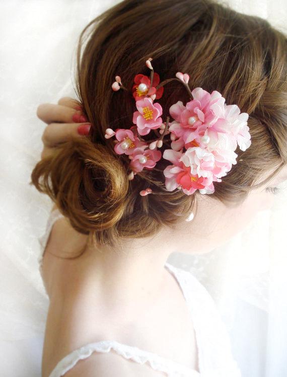 hot pink bridal hair accessories cherry blossom hair clip