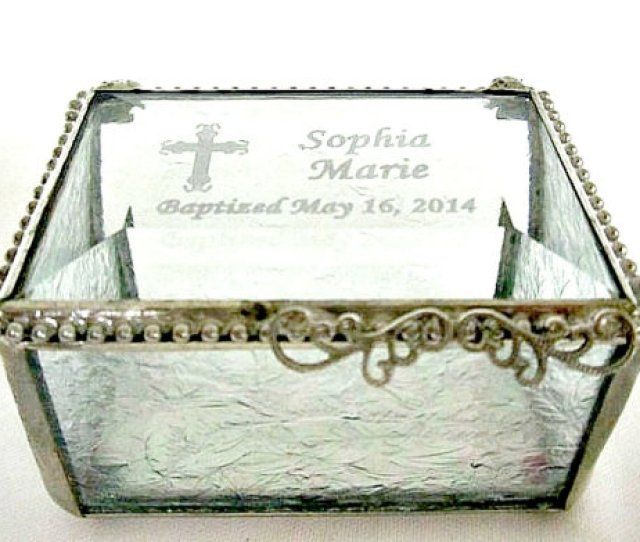 Stained Glass Box Personalized Engraved Bevel Lid Glue Chip Sides Baptism Gift Christening Gift Confirmation Gift Wedding Ring Box