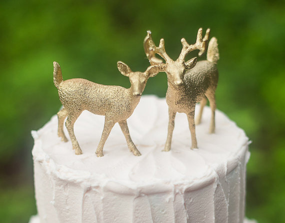 Gold Deer Wedding Cake Topper  Golden Bride   Groom  Woodland Rustic     Gold Deer Wedding Cake Topper  Golden Bride   Groom  Woodland Rustic Wild  Animal
