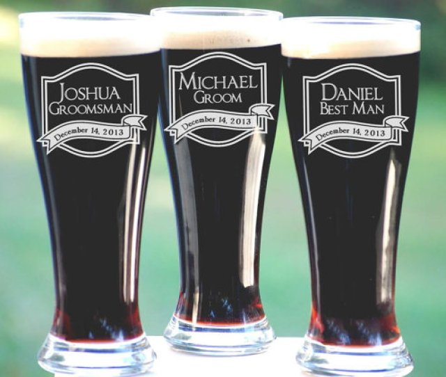 Best Groomsmen Gifts  Personalized Beer Glasses Unique Gift Ideas For Men Custom Engraved Pilsner Glass Wedding Party Gifts Groomsmen