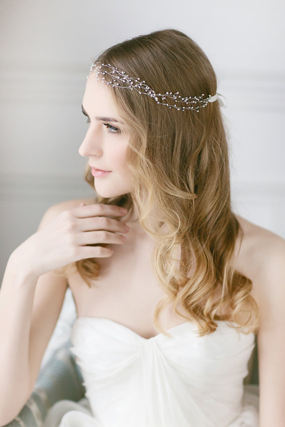 Delicate Pearl Headband Wedding Hair Vine Freshwater