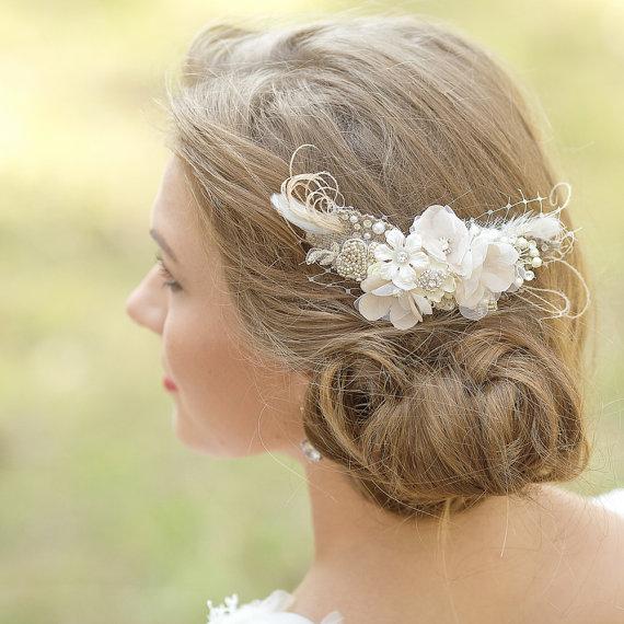 Wedding Hair Piece Bridal Haircomb Rustic Wedding Hair