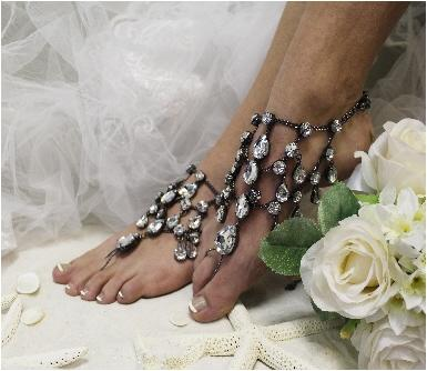 Midnight Barefoot Sandals Sj5 Chandelier Shoe Jewels Smokey Black Drops Wedding Shoes Anklets For Women Sandal Footless Sandles