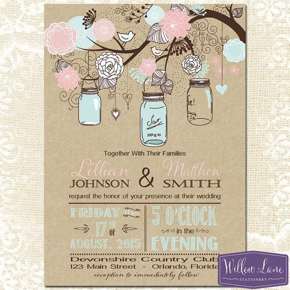 Mason Jar Wedding Invitation Kraft Pink And Blue