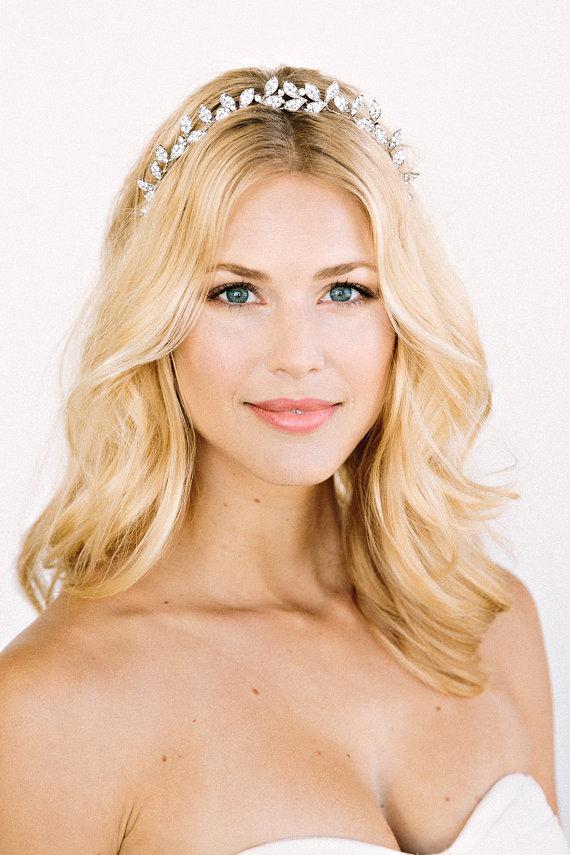 ALEXIS Headband Crown Halo Floral Bridal Rhinestone
