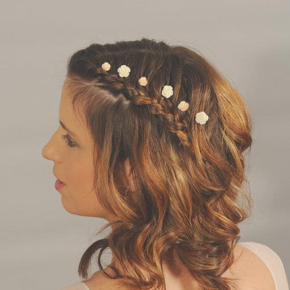 ivory flower hairpins small wedding hair flowers bridal hair accessories hair flower pins pretty dainty
