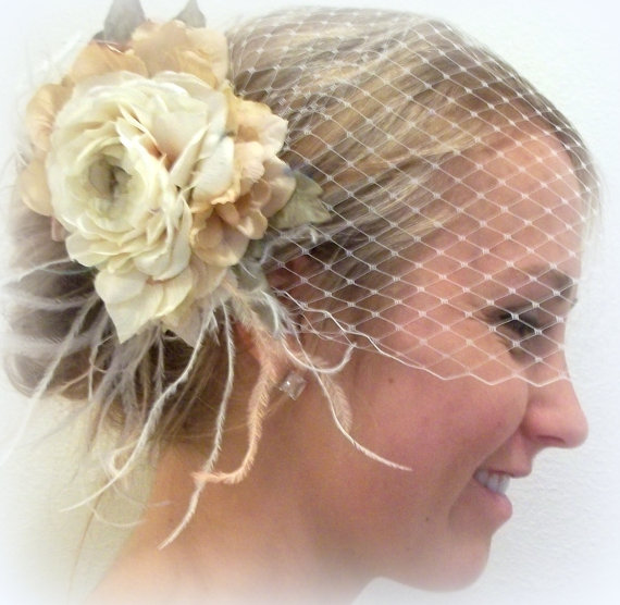 Wedding Bridal French Net Bridal Veil With Ivory Vintage