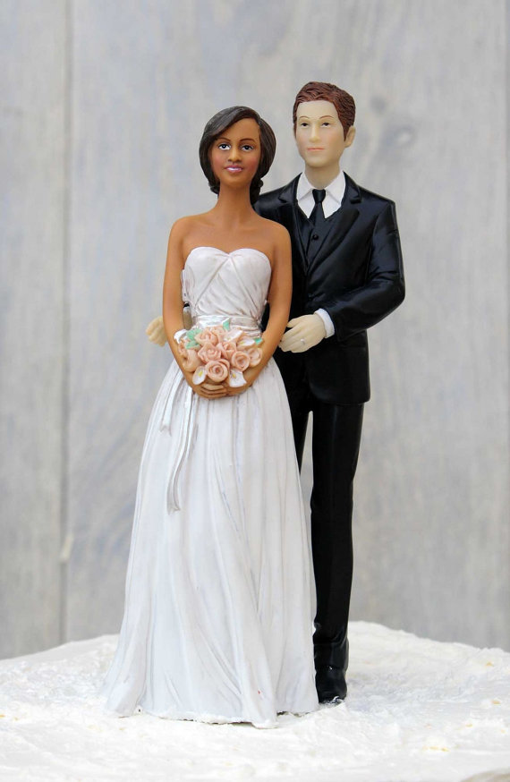Chic Interracial Wedding Cake Topper   African American Bride     Chic Interracial Wedding Cake Topper   African American Bride   Caucasian  Groom   Custom Painted Hair Color Available   702222 702221