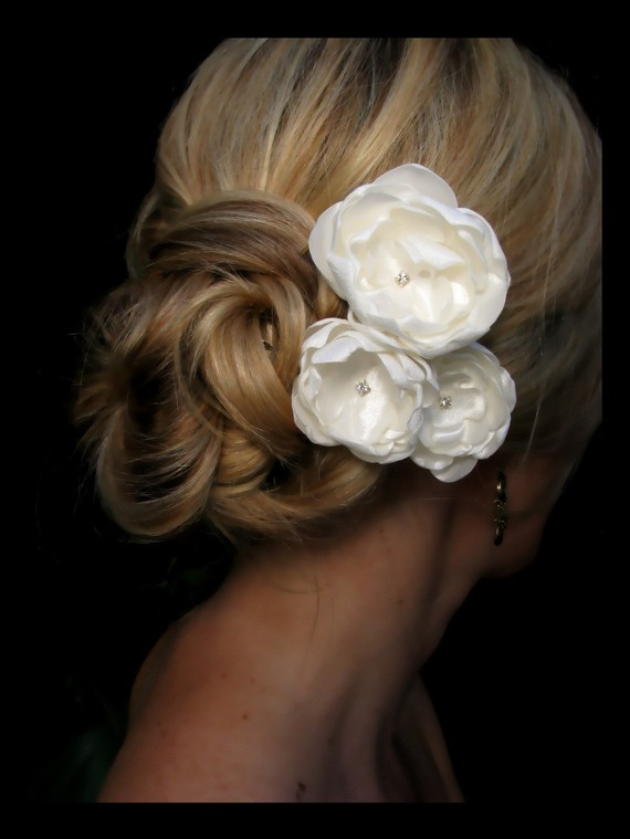 kate bridal hair flowers wedding hair flowers ivory satin flowers with rhinestone centers bridal hair accessories