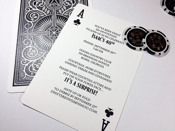 Ace Of Hearts Diamonds Clubs Or Spades Playing Card Shower Party Tournament Invitation Deposit