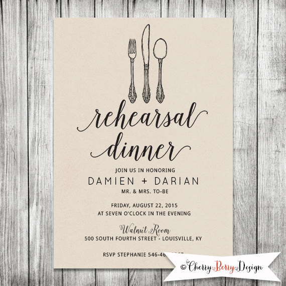 Wedding Rehearsal Invite Dinner Invitation Modern Kraft