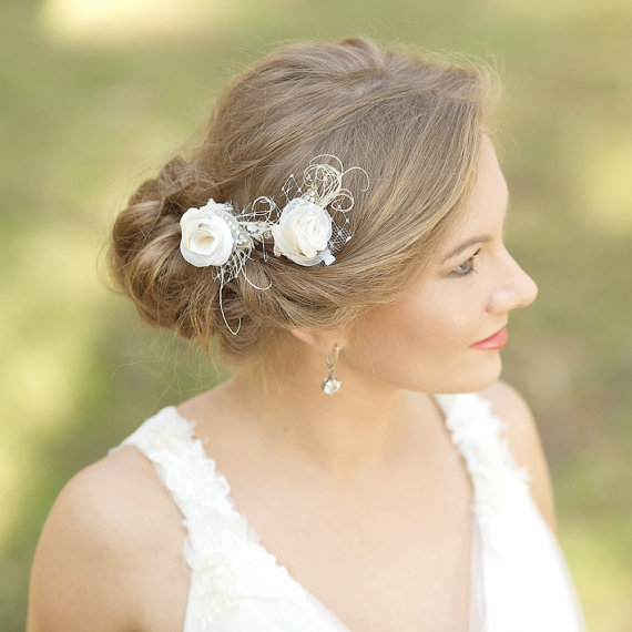 burlap wedding hair piece rustic wedding hairpiece vintage lace hair piece hair accessories ivory champagne beige hair flowers hair pins