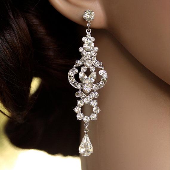 Rhinestone Chandelier Earrings Long Bridal Art Deco Wedding Crystal Jewelry Frances