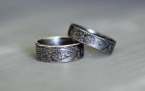 Sterling Silver Wedding Rings Paisley Embossed Rustic