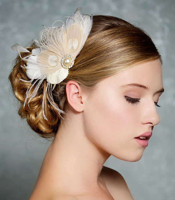 ivory bridal hair accessories champagne peacock feather fascinator wedding hair clip vintage velvet leaves ivory feather bridal headpiece