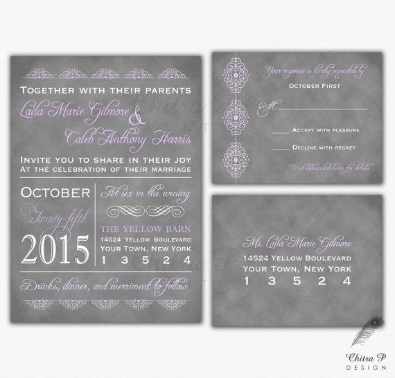 Purple Typography Wedding Invitation Rsvp Postcard