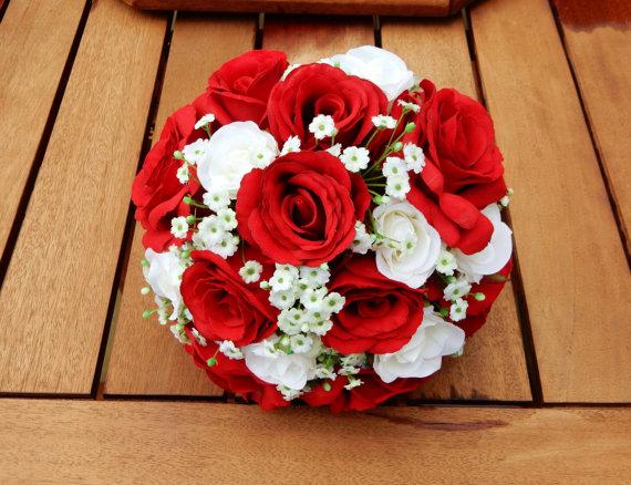 White Red Rose Gypsophilla Wedding Bouquet