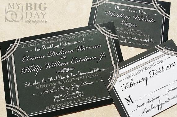 1920 S Style Great Gatsby Wedding Invitation Hollywood
