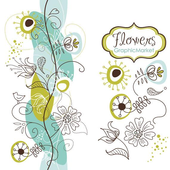 14 flower designs and a floral border clipart for scrapbooking wedding invitation cards personal and small commercial use 2265872 weddbook