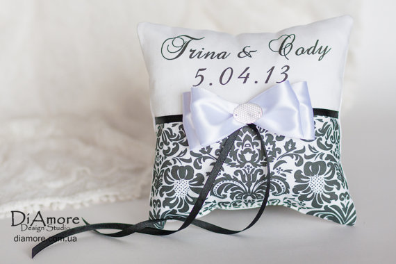 Madison Damask Wedding Ring Bearer Pillow And Flower Girl Basket