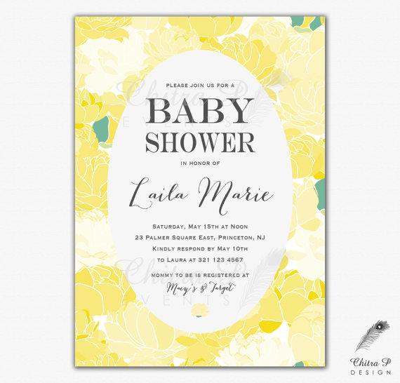 Yellow Baby Shower Invitation Printed
