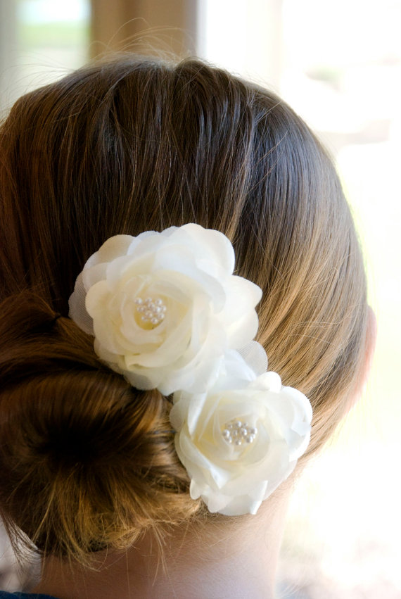 wedding hair flowers bridal hair piece ivory flower hair pins includes 2 hair pin or on alligator clips