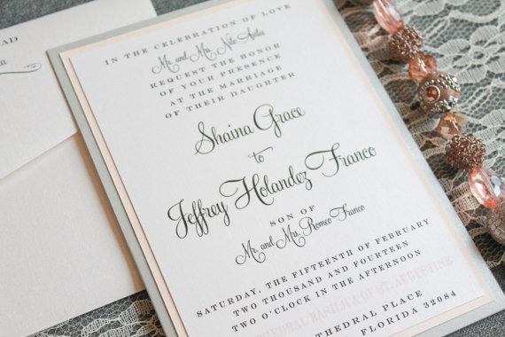 Elegant Ivory Pocket Laser Cut Wedding Invitations