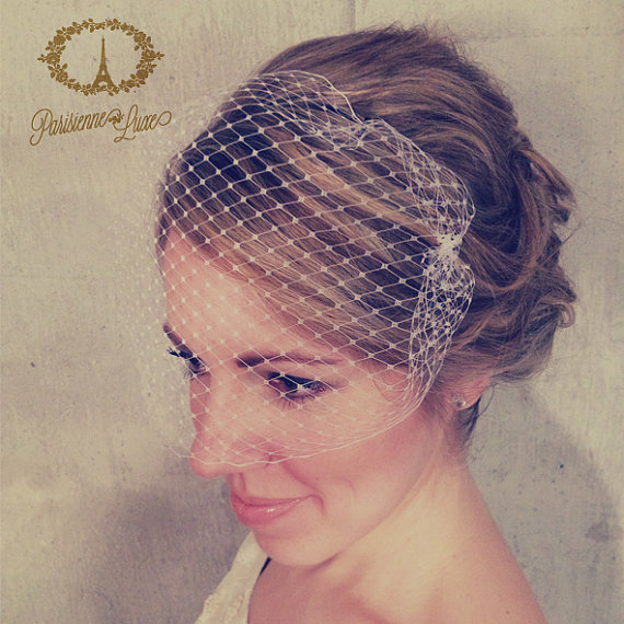 bandeau birdcage veil russian netting blusher bandeau veil bridal bird cage veil wedding hair accessories ivory or white