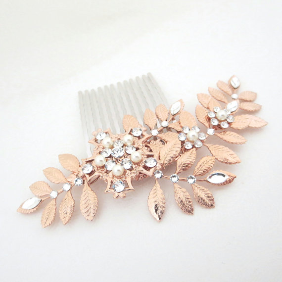 leaf wedding headpiece rose gold hair comb crystal bridal hair comb swarovski crystal headpiece rhinestone hair comb hair accessory