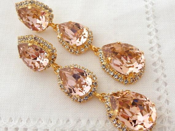 Blush Pink Long Chandelier Earrings Drop Dangle Earring Silver Or Gold Swarovski Estate Style Bridal Bridesmaid Gift