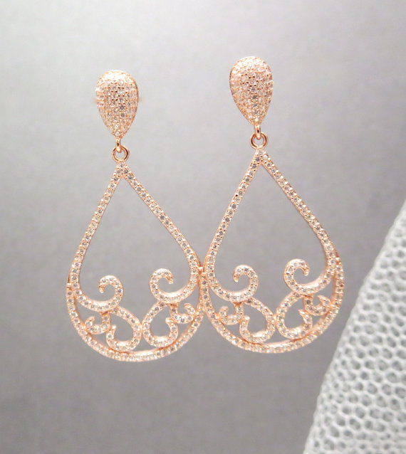 Rose Gold Bridal Earrings Wedding Jewelry Teardrop Chandelier